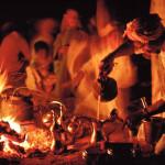 Bedouin preparing Arabic coffee in the desert, Saudi Arabia